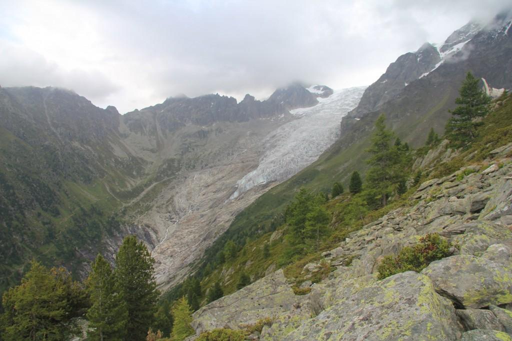 Le glacier du Trient, avec la fenêtre d'Arpette (que nous ne ferons pas).